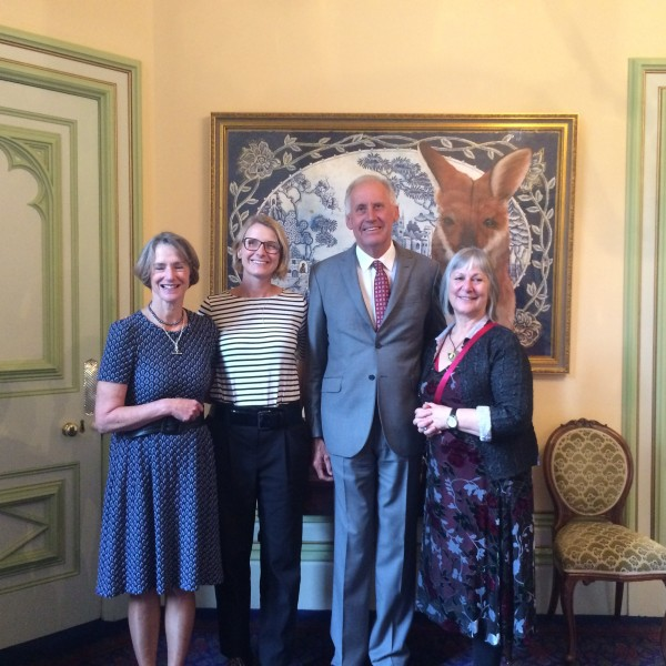 L-R: Her Excellency Professor the Honourable Kate Warner AM, Elizabeth Gilbert, Mr Richard Warner and TWC Director Chris Gallagher at Government House