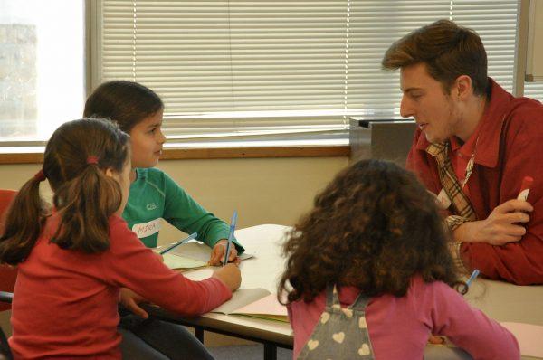 Mira, Taali and Charlotte with teacher Callum