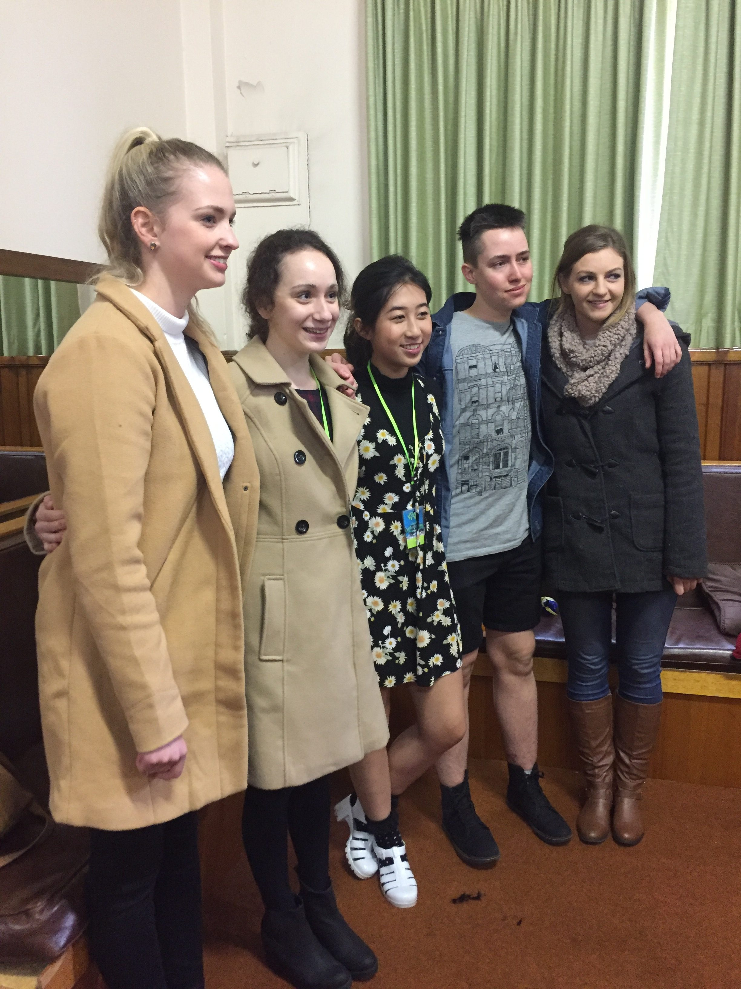 Young Writers in Launceston presented their work at Junction Arts Festival (11/9/16) L-R Claudia Locatelli, Grace Kenyon, Yaya mackeddie, Jasper Godden and Eloise Hart L-R Claudia Garwood (youth development officer at LCC) Claudia Locatelli, Grace Kenyon, Yaya mackeddie, Jasper Godden and Eloise Hart, (City of Launceston Mayor) Albert Van Zetten.